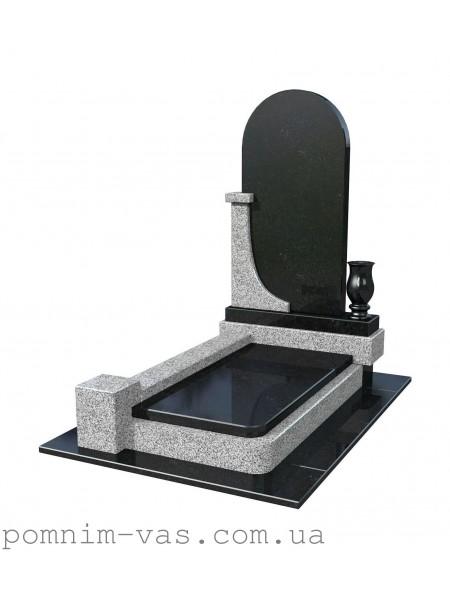 Памятник гранитный серо-черный